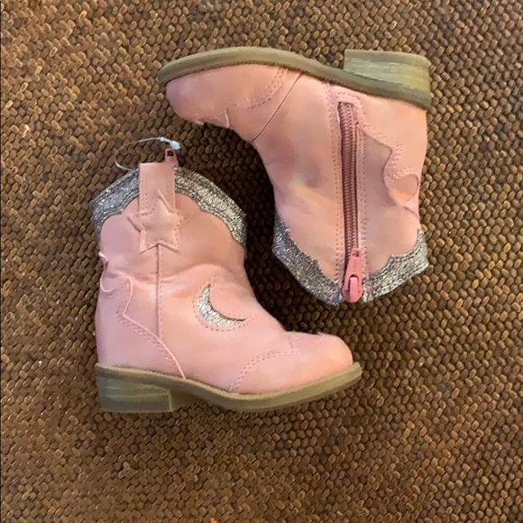 Baby Girls Pink Silver Sparkle Cowgirl